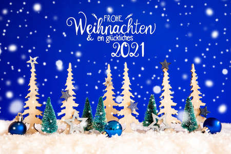 Tree, Snowflakes, Blue Star, Glueckliches 2021 Means Happy 2021, Blue Background Stock Photo