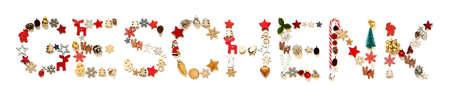 Colorful Christmas Decoration Letter Building Geschenk Means Gift 免版税图像
