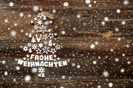 Christmas Tree, White Decoration And Ornament, Wooden Background, Snowflakes