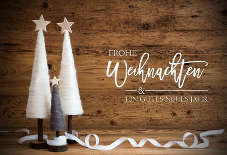 White Christmas Tree, Wooden Background, Gutes Neues Jahr Means Happy New Year