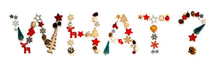 Colorful Christmas Decoration Letter Building Word What Zdjęcie Seryjne