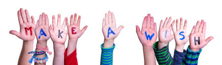 Children Hands Building Word Make A Wish, Isolated Background