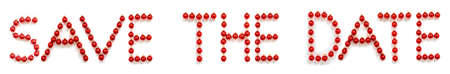 Red Christmas Ball Ornament Building Word Save The Date