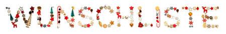 Colorful Christmas Decoration Letter Building Wunschliste Means Wish List
