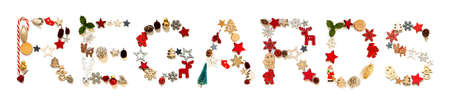 Colorful Christmas Decoration Letter Building Word Regards