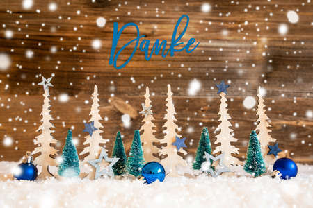 Christmas Tree, Snowflakes, Blue Star, Danke Means Thank You, Wooden Background