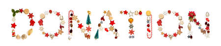 Colorful Christmas Decoration Letter Building Word Donation
