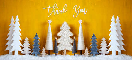 Banner, Christmas Trees, Snow, Yellow Background, Thank You