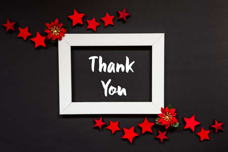 Frame, Red Winter Rose, Star, Text Thank You