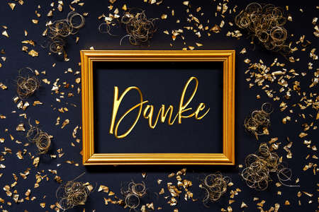Frame, Golden Glitter Christmas Decoration, Danke Means Thank You