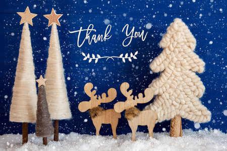 Christmas Tree, Moose, Snow, Text Thank You, Snowflakes Reklamní fotografie
