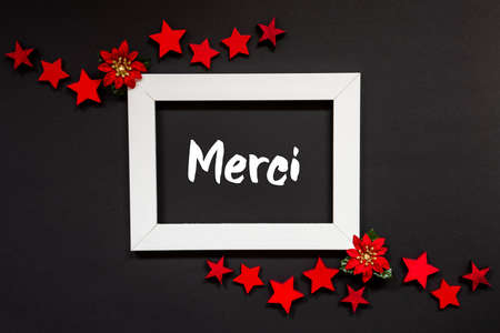 Frame, Red Winter Rose, Star, Merci Means Thank You