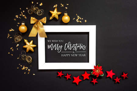 Frame, Red And Golden Christmas Decoration, Merry Christmas And Happy New Year Banco de Imagens
