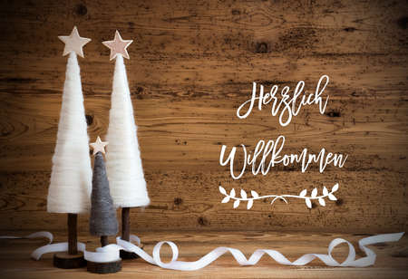 White Christmas Tree, Wooden Background, Willkommen Means Welcome