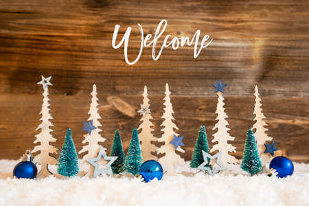 Christmas Tree, Snow, Blue Star, Ball, Text Welcome, Wooden Background