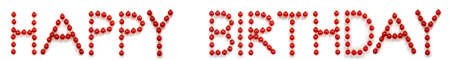 Red Christmas Ball Ornament Building Word Happy Birthday