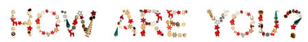Colorful Christmas Decoration Letter Building Word How Are You 免版税图像