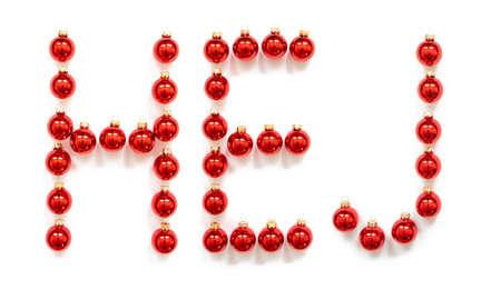 Red Christmas Ball Ornament Building Word Hej Means Hello Banco de Imagens
