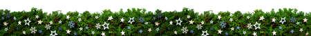 Christmas Banner And Garland With Green Fir Branch, Blue Stars Standard-Bild