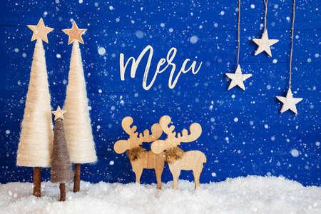 Christmas Tree, Moose, Snow, Star, Merci Means Thank You, Snowflakes Stock Photo