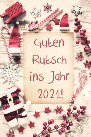 Nostalgic Christmas Flat Lay, Guten Rutsch 2021 Means Happy New Year