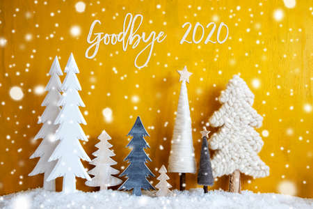 Christmas Trees, Snowflakes, Yellow Background, Goodbye 2020, Snow