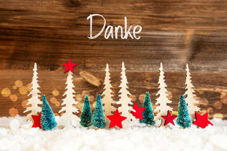 Christmas Tree, Snow, Red Star, Danke Means Thank You, Wooden Background