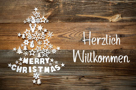 Christmas Tree, White Decoration, Ornament, Willkommen Means Welcome
