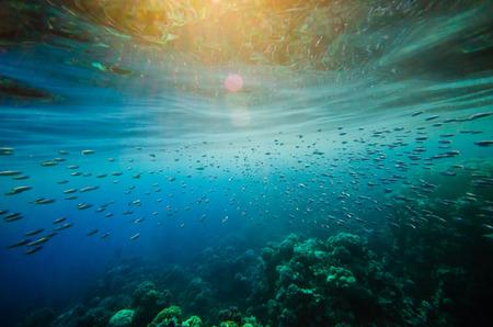 추상 수중 깊고 푸른 배경