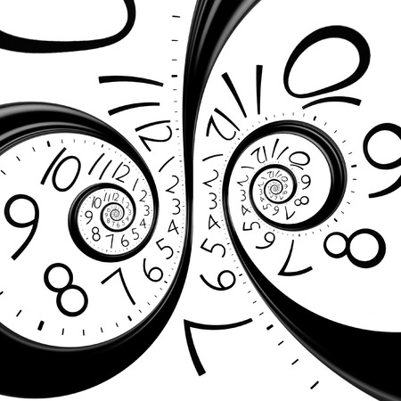 recursive: infinity time spiral clock, abstract background