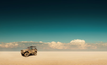 desert landscape with off-road vehicle