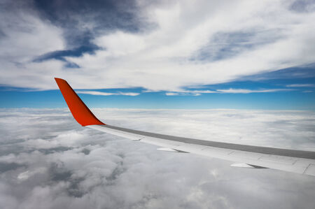 fleecy: view of airplane wing on blue sky background