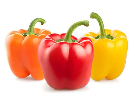 fresh pepper vegetables isolated on white background photo