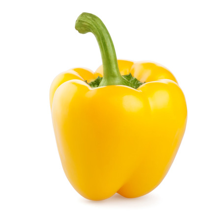 yellow: fresh pepper vegetables isolated on white background Stock Photo