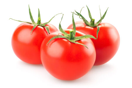 Fresh tomatoes isolated on white background photo