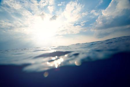 underwater, sea and sky split background