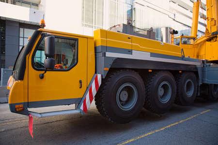 mobile crane: Mobile crane on a construction site Stock Photo
