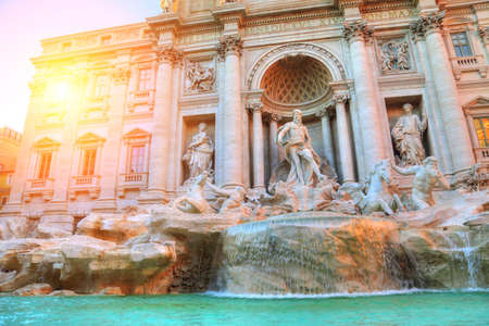 Rome, Famous Trevi Fountain (Fontana Di Trevi) at sunset