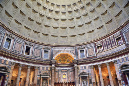 Interior of Roman Pantheon temple built during the reign of Augustus Editorial