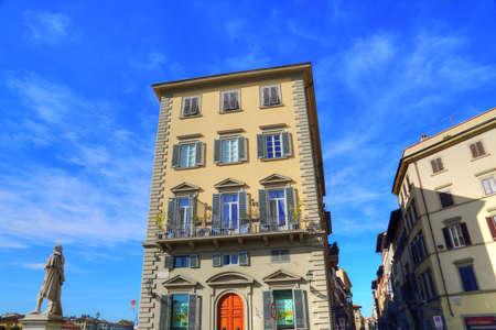 FLORENCE, ITALY-JUNE 16, 2017: Florence streets near landmark bridge Ponte Vecchio