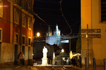 Alfama lookout in Lisbon, Saint Vincent Statue at night