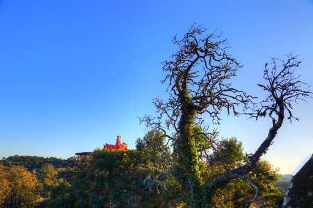 Sintra, Portugal, Scenic Castle of the Moors (with Pena Palace in the background)
