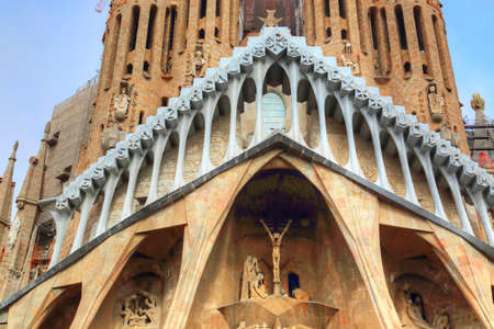 Famous Antonio Gaudi Sagrada Familia Cathedral, Tower close up.