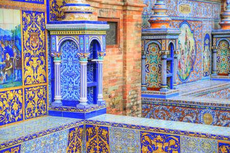 Plaza de Espana, Seville, Architectural details and ornaments