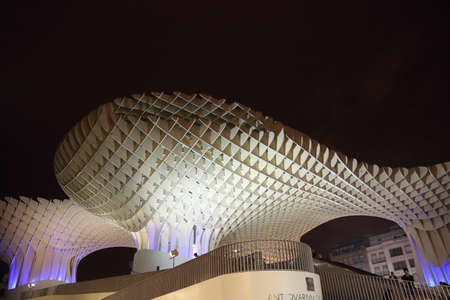 SEVILLE,SPAIN-OCTOBER 17, 2017: Metropol Parasol in Plaza de la Encarnacion, the biggest wooden structure in Europe