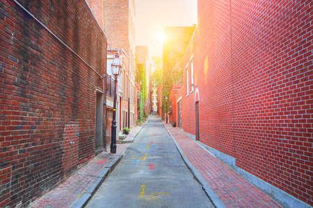 Boston Beacon Hill at sunset Stock Photo