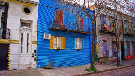 Colorful buildings of El Caminito, a street museum and a traditional alley frequented by tourists, located in La Boca, a neighborhood of Buenos Aires