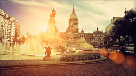 Buenos Aires, National Congress building on a sunset