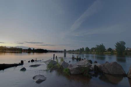karlstad: R�o en la ciudad de Karlstad, Suecia