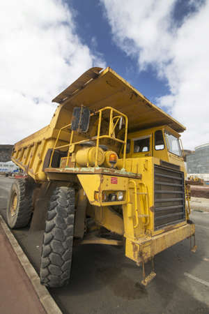 A big dumper truck in a construction photo